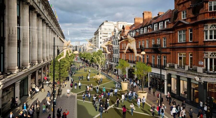 Sådan forestiller planlægger sig, at Oxford Street kommer til at se ud som gågade. Den vestlige halvdel skulle være bil-løs i slutningen af 2018. Den østlige halvdel følger året efter.