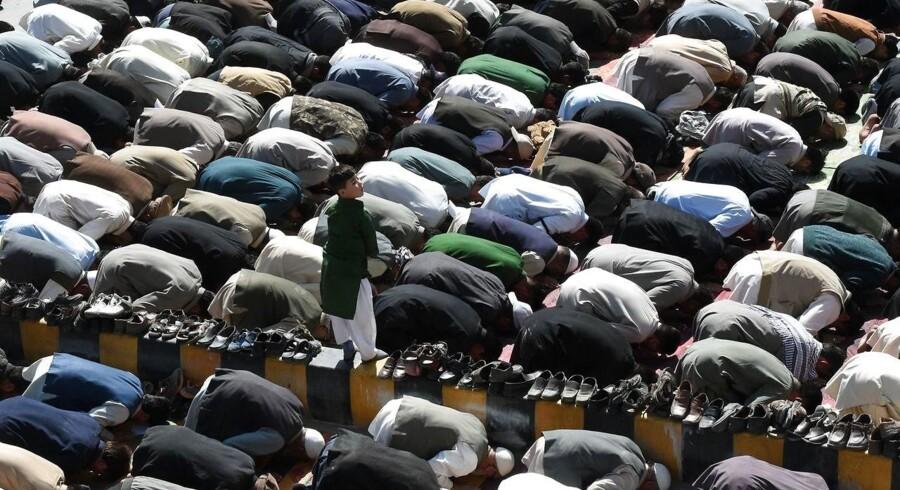 Her ses pakistanske muslimer i bøn i Quetta. AFP PHOTO / BANARAS KHAN