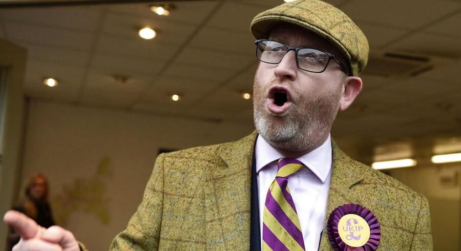 UKIPs partiformand, Paul Nuttall, kan sikre sit parti et historisk, politisk gennembrud ved suppleringsvalget til Underhuset i Stoke-on-Trent. Foto: EPA