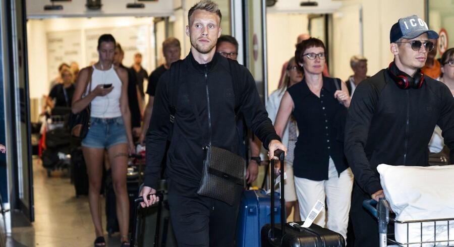 Nicolai Jørgensen ankommer sammen med resten af det danske fodboldlandshold til Kastrup Lufthavn mandag den 2. juli 2018 efter at være blevet slået ud af Kroatien til VM.(foto: Martin Sylvest/Scanpix Ritzau 2018)