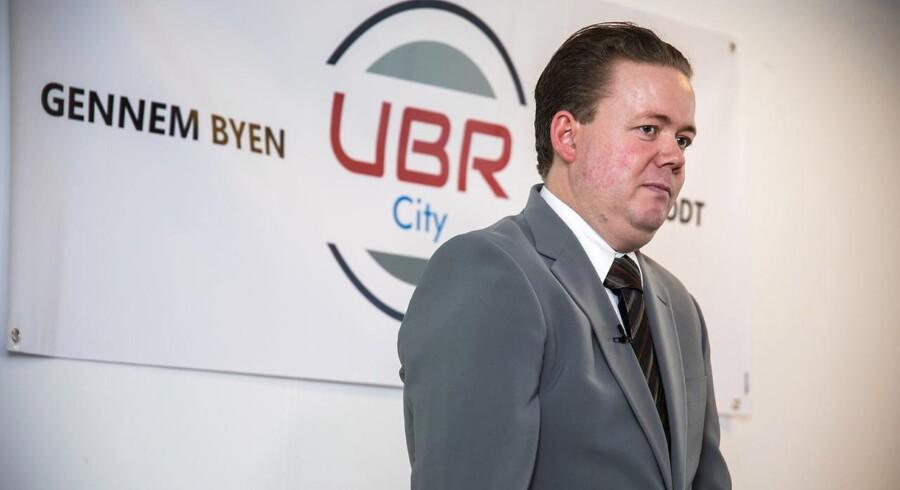 På et pressemøde i Rødovre præsenteres appen Ubr City af firmaets pressechef Per Jakobsen mandag formiddag d. 15. maj 2017. Der er tale om en transporttjeneste, ikke en taxatjeneste, siger pressechefen. (Foto: Martin Sylvest/Scanpix 2017)