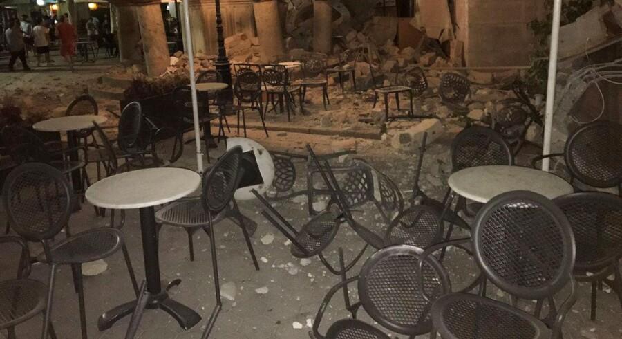 Skader på den græske ferieø Kos efter jordskælvet.