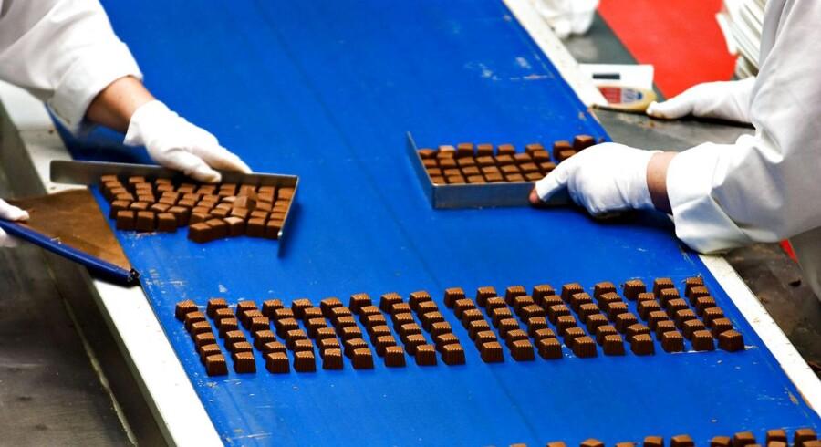 Produktionen på Toms Chokolade Fabrikker.