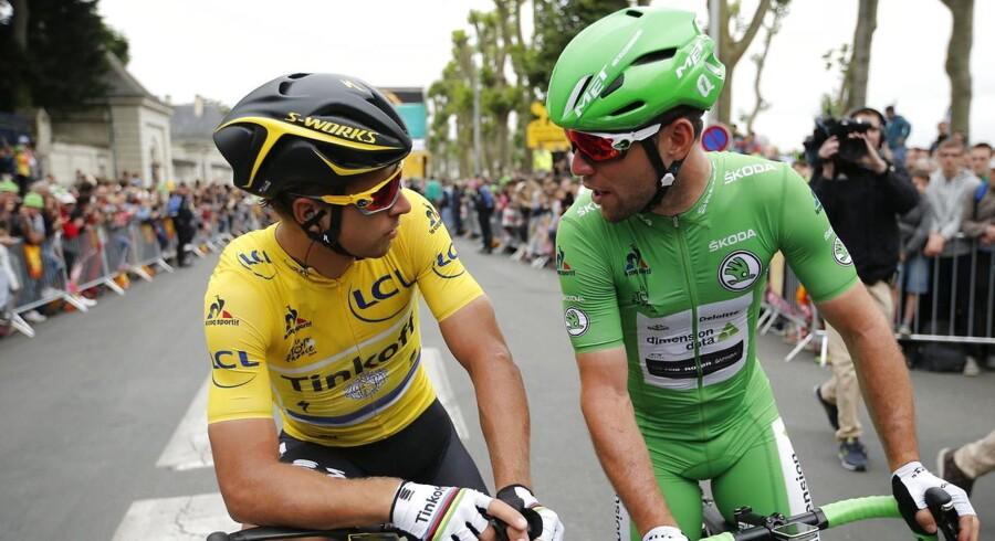 Peter Sagan (tv) burde ikke få problemer med at udbygge sin føring i kampen om den grønne trøje, som han inden dagens etape fører med fem point ned til Cavendish.