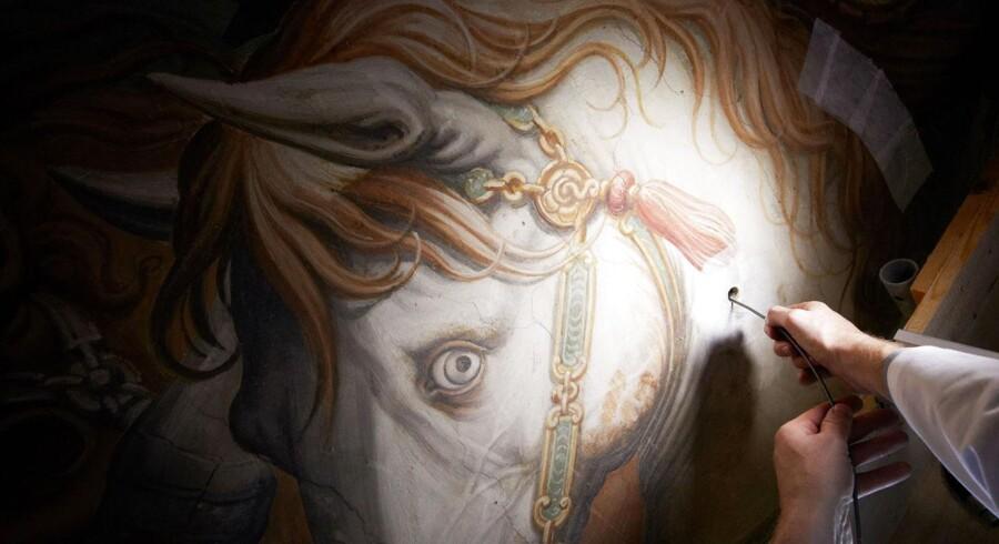 Forskere har hidtil ledt oppe og nede efter den forsvundne Da Vinci - her i en væg i Firenze.