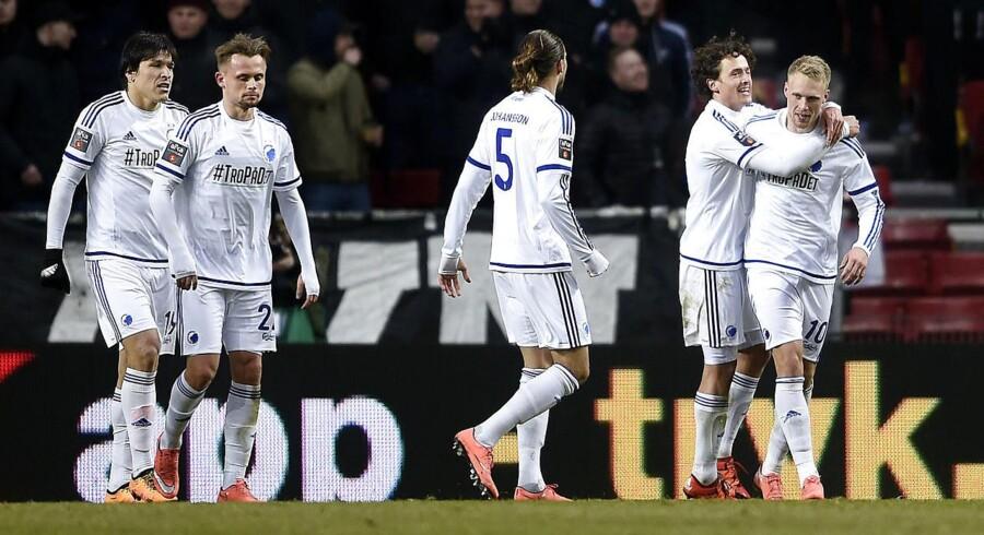 Nicolai Jørgensen (længst til højre) jubler sammen med holdkammeraterne efter en FCK-scoring.