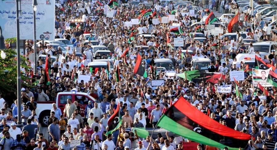 Fredagens protester i Libyens næststørste by, Benghazi.