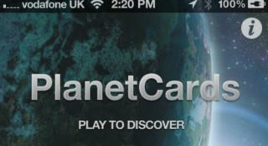 PlanetCards er en ny app til Iphone, der giver dig mulighed for at dyste mod vennerne i forskellige himmellegemers fysiske egenskaber f.eks. størrelse, temperatur eller hastighed ligesom bilkort. (Foto: PlanetCards)