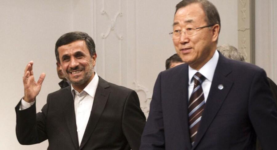Irans præsident og FNs generalsekretær mødes her i Teheran 29. august 2012.