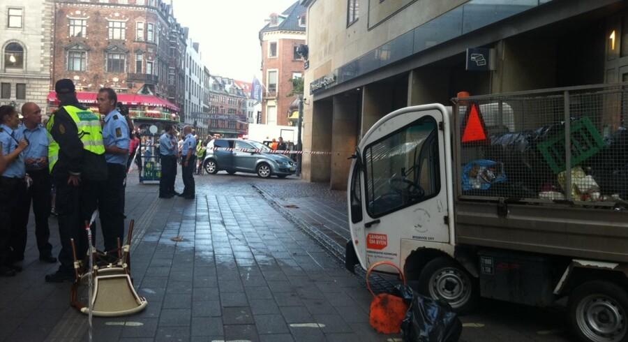 Den tragiske ulykke på Strøget i København skete lidt før klokken 19.00.
