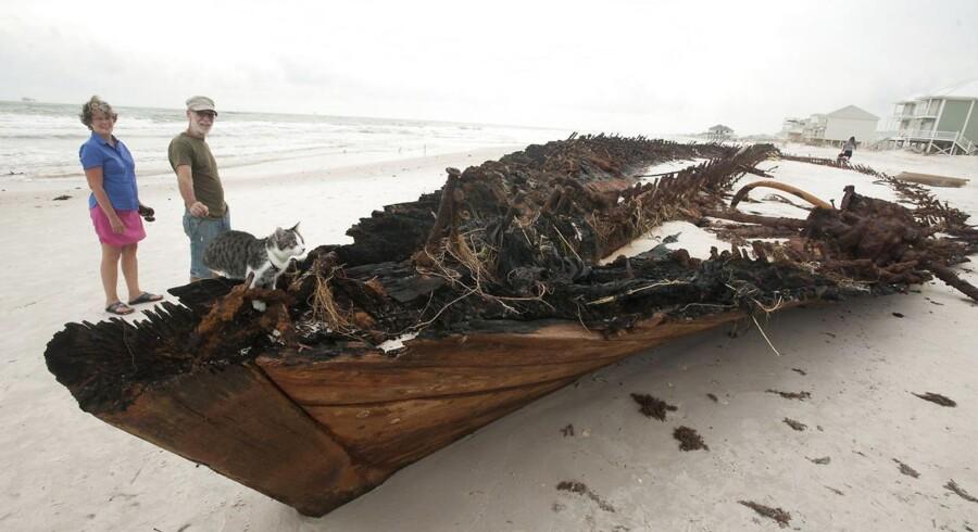 Nysgerrige besigtiger vraget, der blev smidt op på stranden i Fort Morgan, Alabama, uner orkanen Isaac.