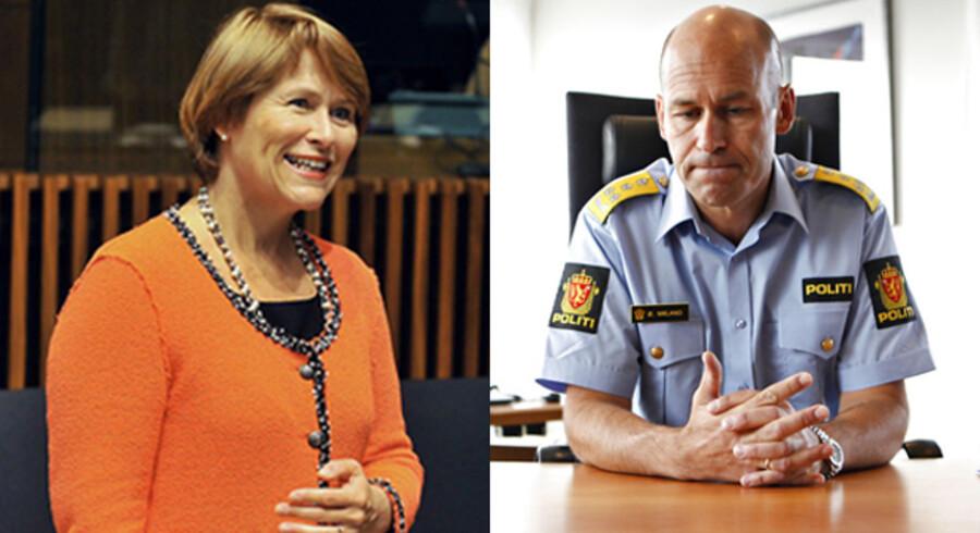 Torsdag aften fyrede Norges justitsminister Grete Faremo (tv.) Norges politidirektør Øystein Mæland for åben skærm. Det har affødt stor kritik mod ministeren, eftersom det skete, uden politidirektøren var underrettet om sin fyring forinden.