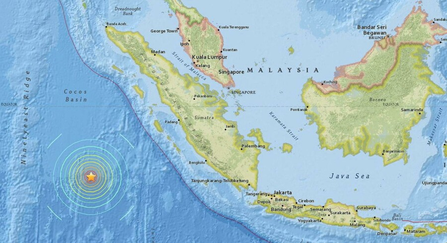 Et screenshot fra det interactive kort hos US Geological Survey (USGS) viser jordskælvet sydvest for Sumatra.
