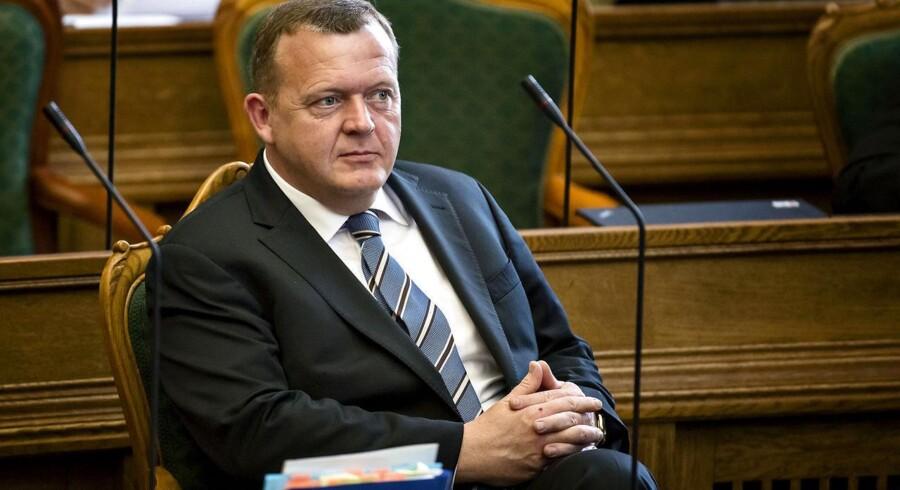 Venstres formand, Lars Løkke Rasmussen, under afslutningsdebatten i Folketinget onsdag. Foto: Torkil Adsersen, Scanpix