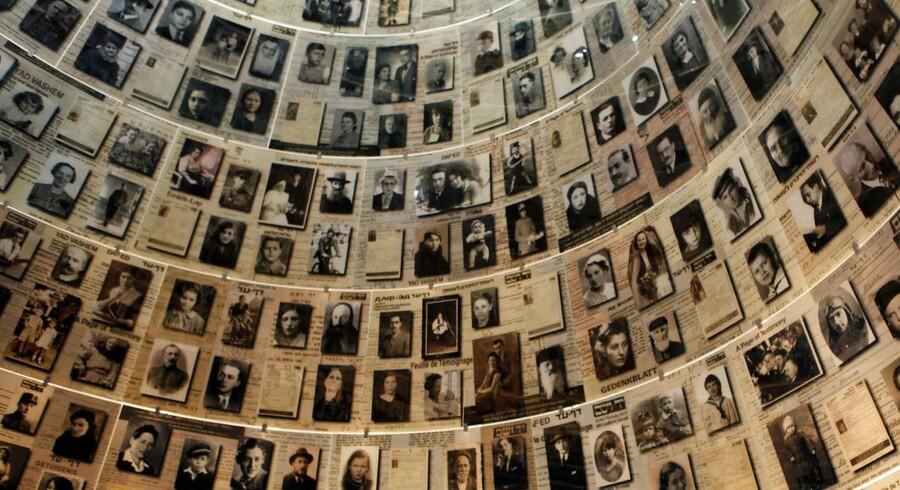 Seks millioner jøder blev dræbt under Andens Verdenskrig. Her ses foto af nogle af ofrene på Yad Vashem.museet i Jerusalem.