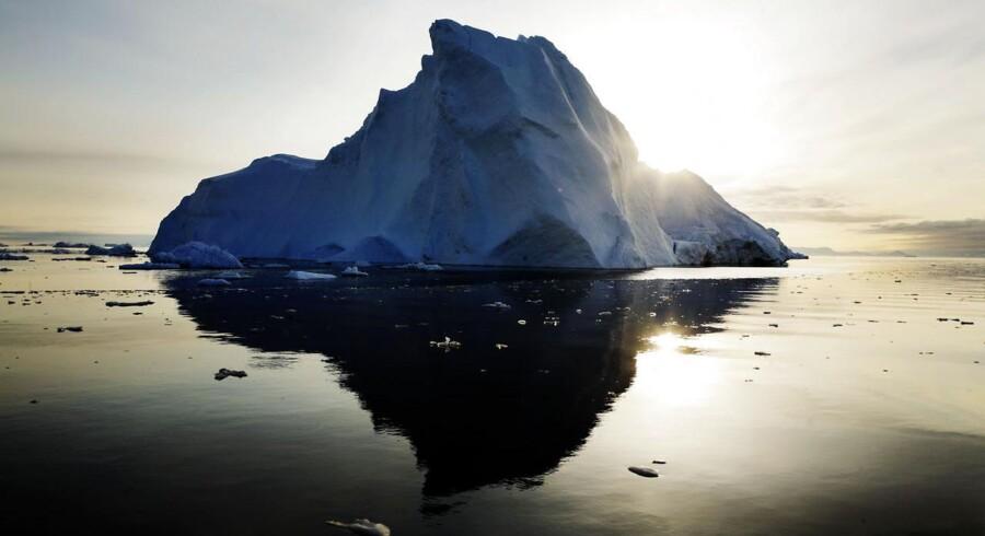 Sejlads i ishavet er svært og risikabelt. Men rederierne tester for tiden muligheden. Her ses et isbjerg ved den grønlandske kyst.