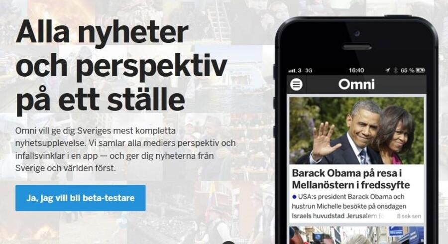 Omni er netop en tjeneste, som vil samle nyheder og perspektiver fra en lang række svenske og internationale medier. Foto: omni.se