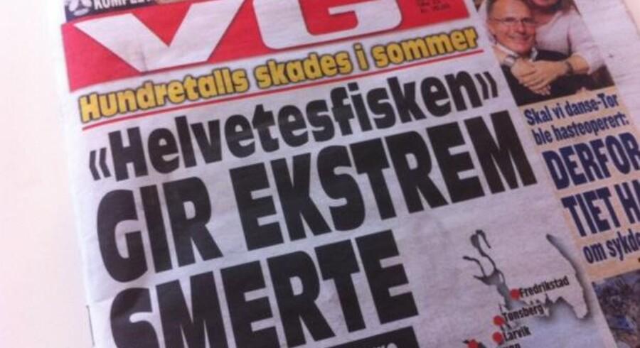 Den norske avis Verdens Gang advarer på forsiden mod 'helvedesfisken'. Og den værste af slagsen kommer fra Danmark. (Foto: Affotografering af VGs forside)