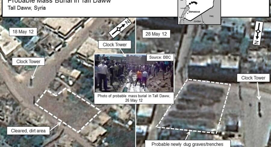I en kombination af satellitbilleder af et udsnit af byen Tall Daww ved Houla i Syrien er der tegn på, at der er blevet gravet i jorden på et større areal. Det kan meget vel være massegrave.