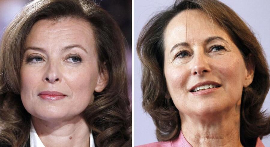 En anonym rådgiver fra det franske præsidentpalæ citeres af avisen Le Monde for at sige, at den nye administration har været forberedt på kriser. Dog ikke ægteskabskriser. Valérie Trierweiler (tv) støtter modkandidatens til sin kærestes eks.