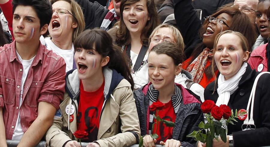 Unge støtter til Francois Hollande.