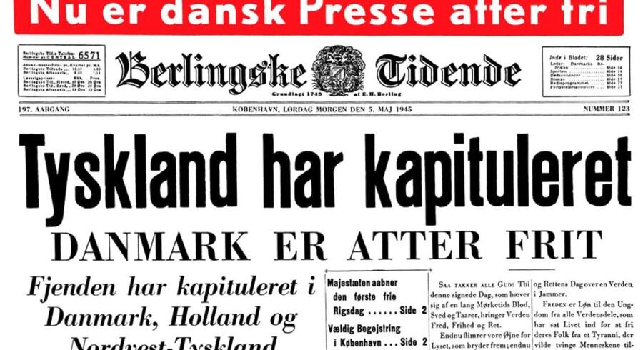 Den historiske forsiden fra Berlingske Tidende den 5. maj 1945. Her kan du købe en digital kopi af forsiden.