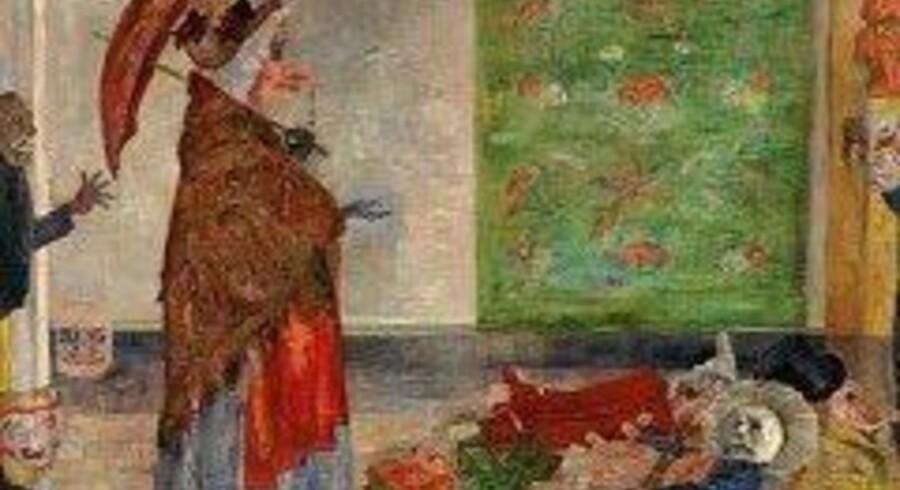 Sammen med skelettet er masken et tilbagevendende motiv hos den belgiske maler James Ensor som i »Wouse-maskens forbløffelse« fra 1889. Asger Jorn var meget optaget af Ensors radikale billeder – og nu viser hans museum i Silkeborg en udstilling om begge de to store malere.(Udsnit)