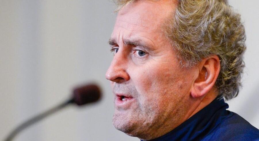 Den svenske landstræner Erik Hamrén under mandagens pressekonference i Parken.