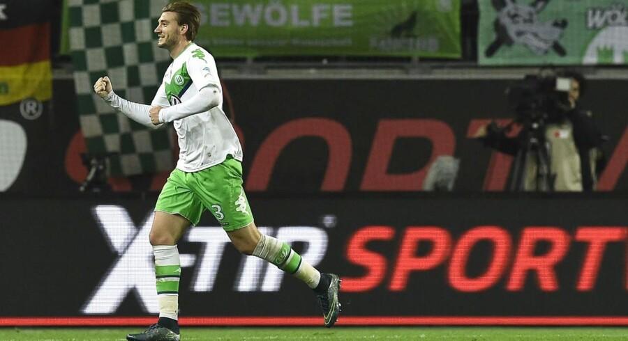Nicklas Bendtner jubler over sin Wolfsburg-scoring.