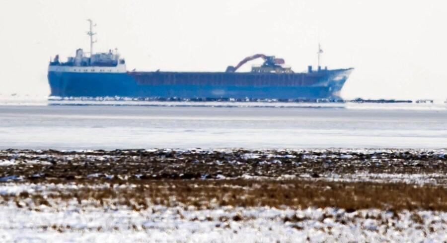 Her er der et skib gået på grund ved Thyborøn 5. februar.