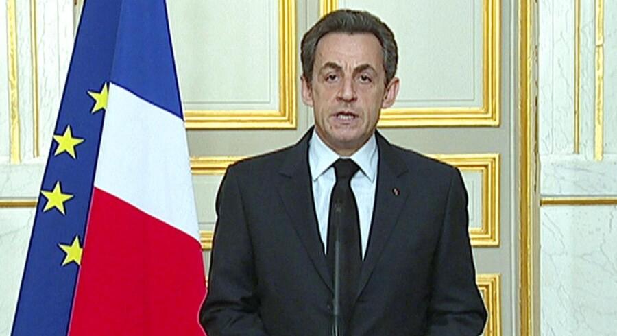 Nicolas Sarkozy på pressemødet efter dramaet i Toulouse.
