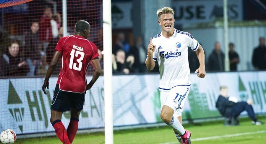 Andreas Cornelius var ikke imponeret over modstanderen fra FC Vestsjælland. Han scorede til 0-2 - kampens resultat.