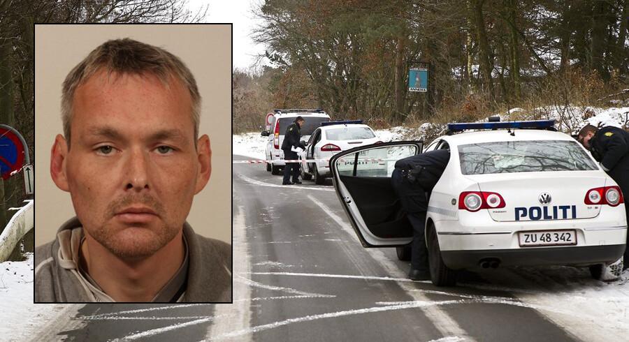 Politiet efterlyser den 39-årige mandlige beboer Kristian Heilmann (lille foto), som forsvandt sammen med den nu dødfundne kvinde. På det store foto afspærrer politiet området ved ishuset i Dollerup, hvor den 46-årige kvindelige pædagog blev fundet død onsdag.
