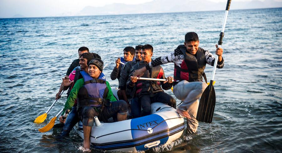 Kos og omegn. Flygtninge kommet ind via Tyrkiet venter på at kunne rejse videre ind i EU.