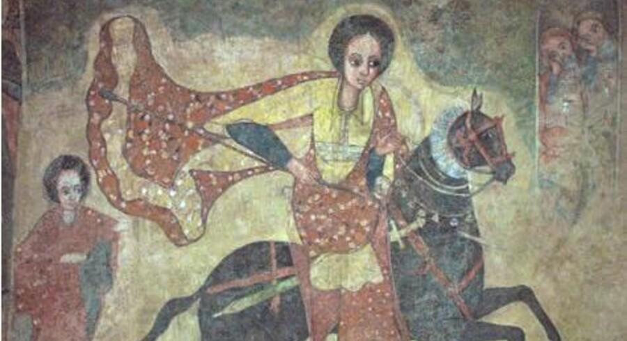 Her er dronningen af Saba ifølge en etioptisk fresco på vej til kong Salomon på hest.
