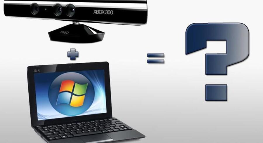 Du kan måske snart styre din computer ved hjælp af bevægelser foran skærmen, som et resultat af en kombination af Kinect og en bærbar computer.