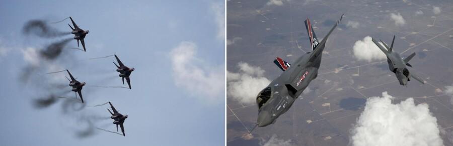Til venstre flyver en gruppe russiske MIG-kampfly i formation. Til højre ses deres amerikanske modstykker, F-35 Lightning II-kampflyene der også er kendt under navnet Joint Strike Fighter. Foto: Reuters/Tom Reynolds og Reuters/Maxim Zmeyev.