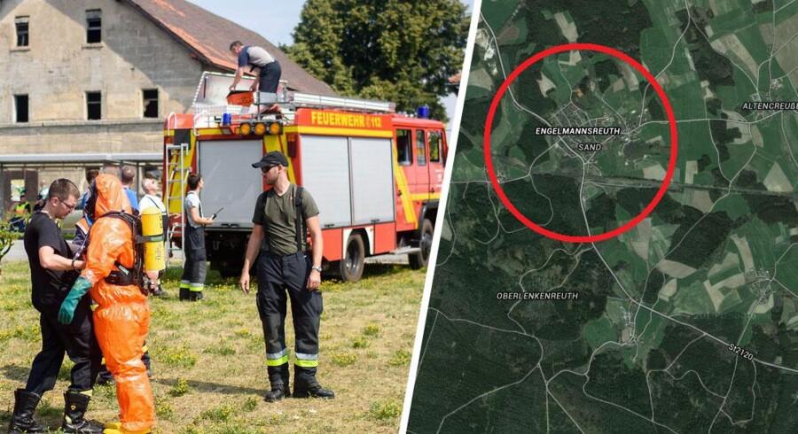Et amerikansk F-16-fly er tirsdag formiddag styrtet ned i et skovområde nær den sydtyske by, Engelmannsreuth. Flere end 200 brandmænd i beskyttelsesdragter er på stedet. De skal sikre, at den 100 kilo tunge øvelsesbombe, der var ombord på flyet, ikke springer.