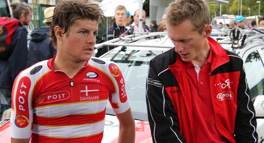 Jakob Fuglsang og Matti Breschel er begge VM-tvivlsomme på grund af styrt og skader, men begge ligner ellers selvskrevne deltagere, hvis de melder sig klar. Foto: Rasmus Staghøj