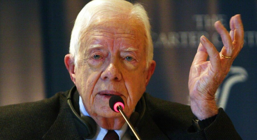 """(FILES) - File picture taken January 13, 2012 shows former US president Jimmy Carter speaking during a press conference in Cairo. Former US president Carter said August 12, 2015 that recent surgery had shown he has cancer and that it has spread from his liver. The 39th president recently underwent surgery to remove a small mass from his liver. """"That procedure revealed that I have cancer that now is in other parts of my body. I will be rearranging my schedule as necessary so I can undergo treatment, """" he said, in a brief statement. AFP PHOTO/AMRO MARAGHI"""