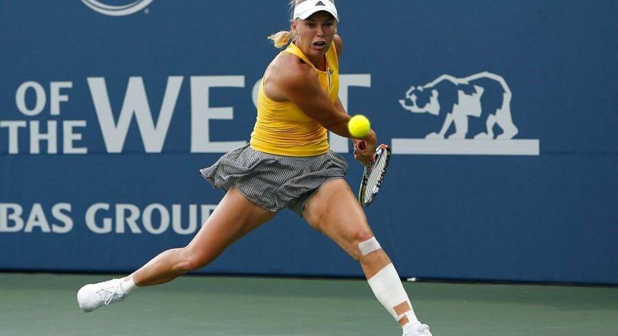 Caroline Wozniacki lavede blandt andet for mange uprovokerede fejl i kampen mod Belinda Bencic, der vandt kampen med 7-5, 7-5. Arkivfoto.