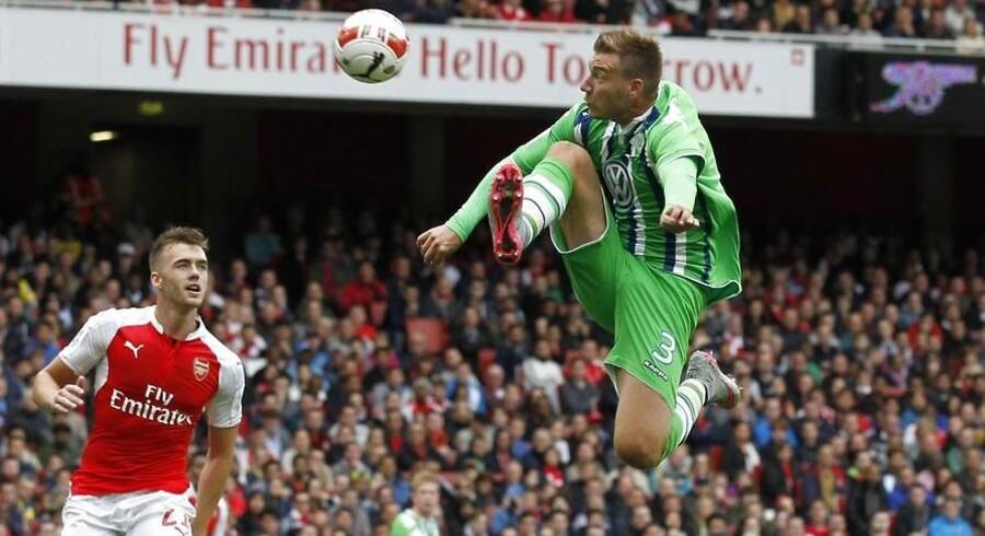 Nicklas Bendtner er glad for, at hans søn Nicholas endelig kunne se ham spille en kamp, da Wolfsburg mødte Arsenal i Emirates Cup.