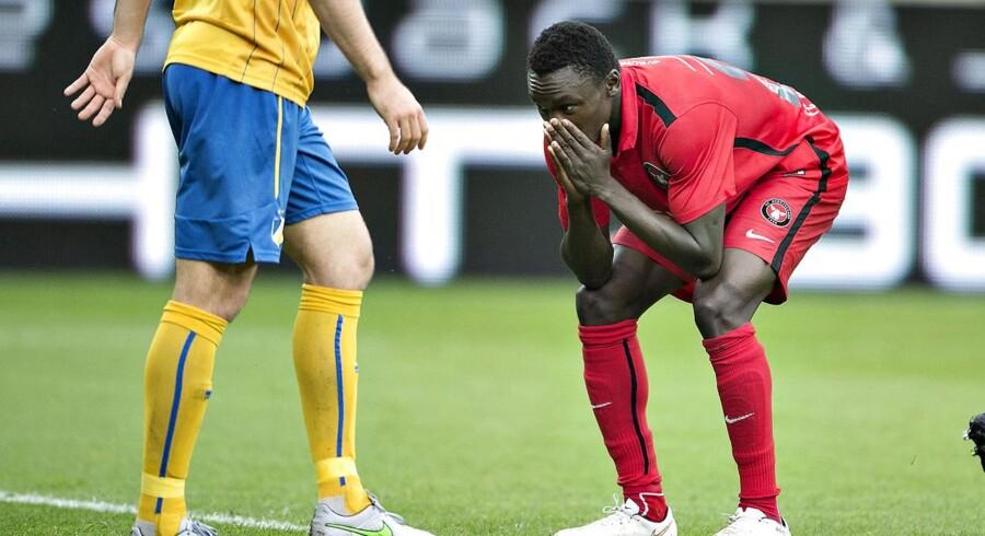 FC Midtjylland - Apoel FC , Champions League kval. , 1. kamp, MCH Arena, Herning: FC Midtjyllands Pione Sisto ærgrer sig over stor afbrænder i 2. halvleg