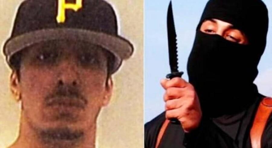 Mohammed Emwazi. Til venstre et billede fra før han blev verdenskendt og -berygtet som ISIS-bøddel. Til højre et screengrab fra en af den grusomme henrettelsesvideoer, han medvirkede i.
