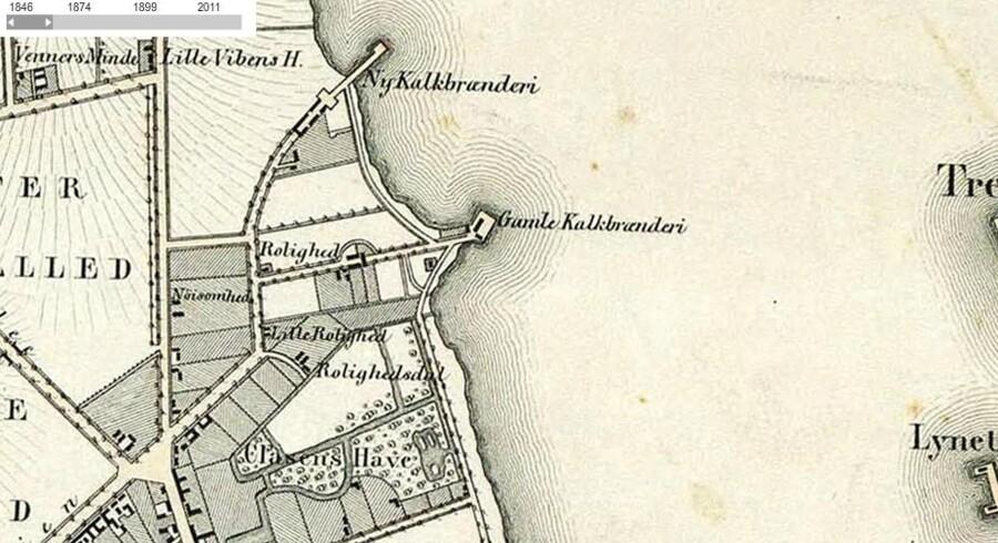 Kort over havneområdet ud for Østerbro anno 1846.
