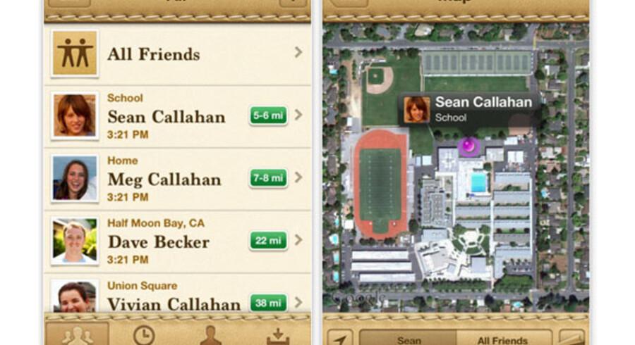 Skræmbillede fra Apple's Find my friends app.