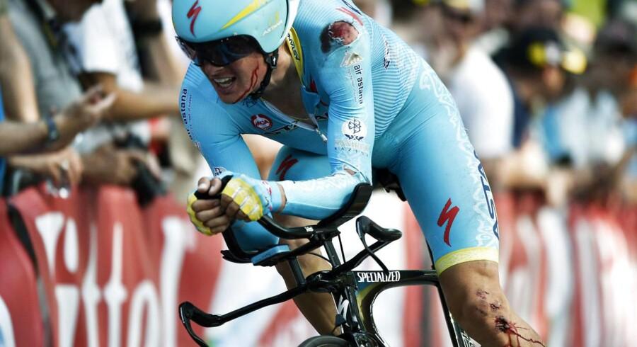 Her ses Jakob Fuglsang, da han trillede over målstregen efter 1. etape af Tour de France.