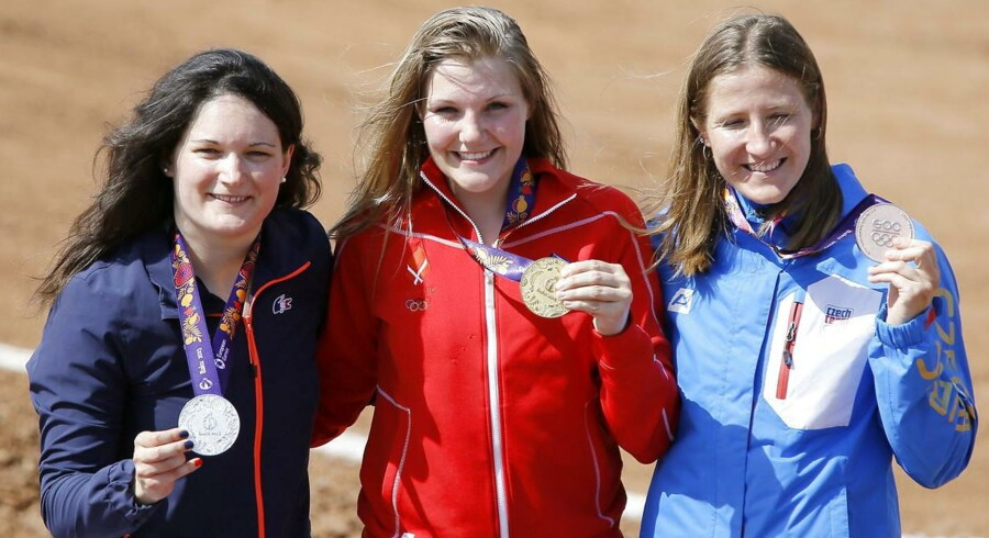 Simone Christensen (i midten) vandt guld i BMX.