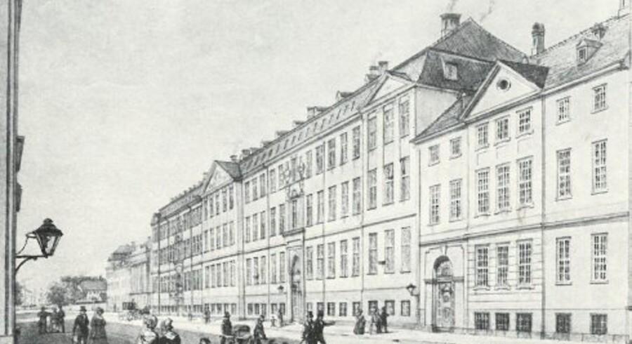 Almindeligt Hospital i Amaliegade var en 200 meter lang herskabelig bygning fra 1760erne, som var opført af fattigvæsenet og i 120 år var alderdomshjem, fattiggård og arbejdshus. Tegning fra af H.G.F. Holm 1855. København før og nu, bd. III.