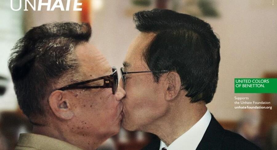 Her er det lederne af henholdsvis Nord- og Sydkorea, der er manipuleret til at kysse.